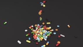 Stapel van kleurrijke geneeskundepillen die op lijst vallen vector illustratie