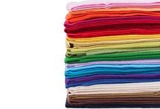 Stapel van multicolored linnenstof Stock Afbeelding