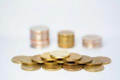 Stapel van muntstukken stock foto's