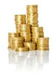 Stapel van muntstukken stock afbeeldingen