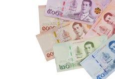 Stapel van nieuwe Thaise Bahtbankbiljetten royalty-vrije stock foto
