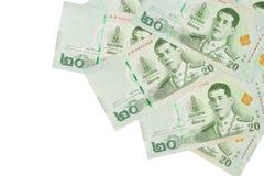 Stapel van nieuwe 20 Thaise Bahtbankbiljetten royalty-vrije stock foto's