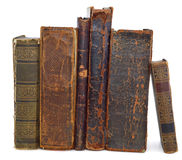 Oude boekenverticaal stock afbeeldingen