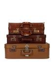 Stapel van oude bruine koffer Stock Foto's