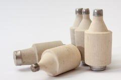 Stapel van oude ceramische zekeringen Royalty-vrije Stock Foto