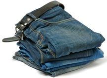 Stapel van Oude jeans en Riem royalty-vrije stock foto