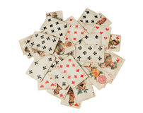 Stapel van oude Russische die speelkaart op witte achtergrond wordt geïsoleerd Royalty-vrije Stock Foto's