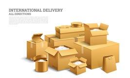 Stapel van realistische gestapelde kartondoos Bruine levering Leeg Karton, open en verzegeld pakket met op transparant wit vector illustratie
