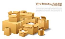 Stapel van realistische gestapelde kartondoos Bruine levering Leeg Karton, open en verzegeld pakket met op transparant wit royalty-vrije illustratie