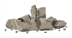 Stapel van rotssteen Stenenrotsen in variuosgrootte vector illustratie
