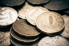 Stapel van Russische muntstukken. royalty-vrije stock foto