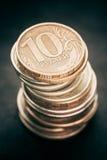 Stapel van Russische muntstukken royalty-vrije stock afbeelding