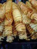 Stapel van spiraal gebraden aardappel stock afbeelding