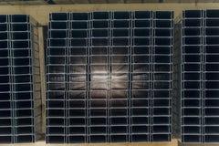 Stapel van staalspoor voor gipsplaat stock foto