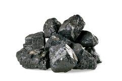 Stapel van steenkool op wit wordt geïsoleerd dat Stock Afbeeldingen