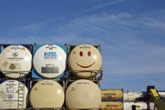Stapel van tankcontainer Stock Foto