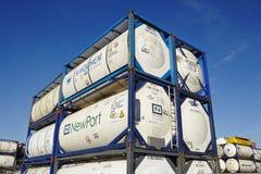 Stapel van tankcontainer Royalty-vrije Stock Afbeeldingen