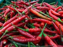 Stapel van Thaise chilis Stock Afbeeldingen