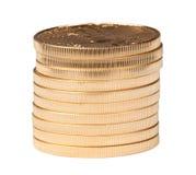 Stapel van tien zuivere gouden muntstukken Stock Afbeeldingen