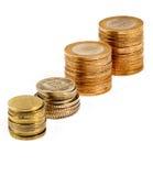 Stapel van Turkse muntstukken isoladet Royalty-vrije Stock Foto's