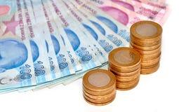 Stapel van Turkse muntstukken isoladet Royalty-vrije Stock Fotografie