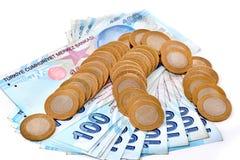 Stapel van Turkse muntstukken isoladet Stock Afbeeldingen
