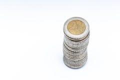 Stapel van twee geïsoleerde euro Stock Afbeeldingen