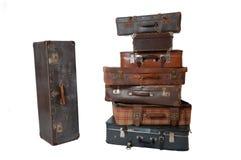 Stapel van uitstekende bagage royalty-vrije stock fotografie