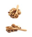 Stapel van veelvoudig geïsoleerd soort noten stock afbeeldingen