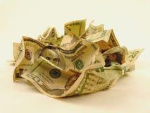 Stapel van verfrommeld contant geld Stock Afbeelding