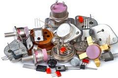 Stapel van verschillende transistors royalty-vrije stock foto