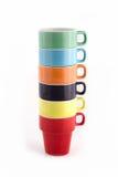 Stapel van Zes Kleurrijke Koppen Stock Afbeelding