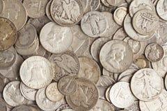 Stapel van Zilveren Muntstukken royalty-vrije stock foto's