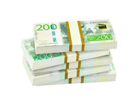 Stapel van Zweedse 200 kronenbankbiljetten Royalty-vrije Stock Foto