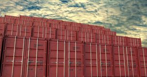 Stapel Versandverpackungen unter der Glättung von cloudscape stock abbildung