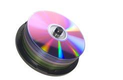 Stapel verschiedener DVD getrennt auf Weiß Lizenzfreies Stockfoto