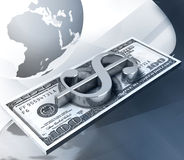 Stapel von $100 über Hintergrund mit Erdekugel Stockfotografie