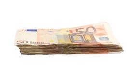 Stapel von 50 Eurorechnungen Stockfoto