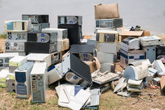 Stapel von alten Computern Stockfoto