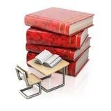 Stapel von Büchern und von Schulbank vektor abbildung