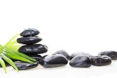 Stapel von balancierenden Steinen des schwarzen nassen Basalts und von grünem Blatt, auf weißem Hintergrund Lizenzfreie Stockfotos