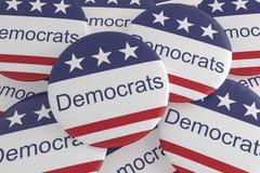 Stapel von Demokrat-Knöpfen mit US-Flagge, Illustration 3d lizenzfreie abbildung