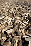 Stapel von den Stücken Ahornbaumholz heraus verbreitet gewürzt zu werden lizenzfreie stockfotografie