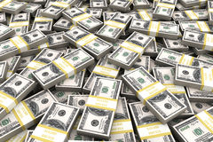 Stapel von 100 Dollar USA auf weißem Hintergrund Lizenzfreies Stockfoto