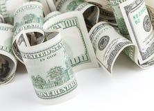 Stapel von Dollar Vereinigter Staaten USD auf Weiß Lizenzfreies Stockbild