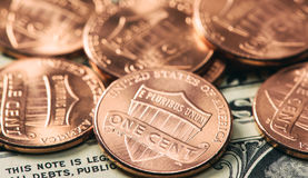 Stapel von ein-Cent-Münzen Stockfotografie
