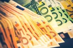 Stapel von Eurobanknoten Stockfotografie