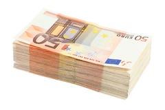 Stapel von fünfzig Eurobanknoten Stockbilder