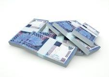 Stapel von Geld 3D Indonesien lokalisiert auf weißem Hintergrund Stockfoto