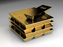 Stapel von goldbars Stockbild